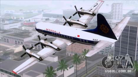 L-188 Electra Mandala Airlines para GTA San Andreas esquerda vista