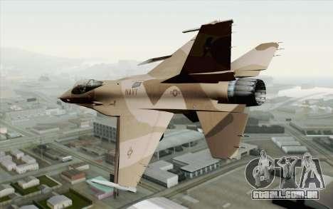F-16C Fighting Falcon NSAWC Brown para GTA San Andreas esquerda vista