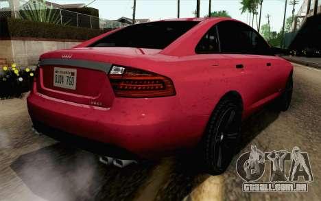 GTA 5 Obey Tailgater v2 SA Style para GTA San Andreas esquerda vista
