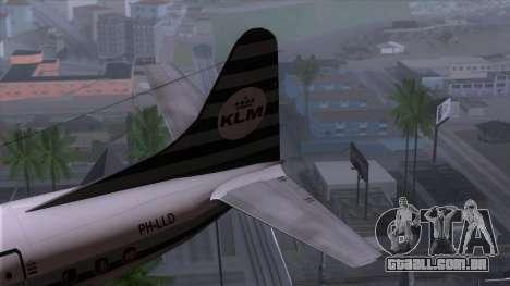 L-188 Electra KLM v2 para GTA San Andreas traseira esquerda vista