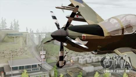 Embraer A-29B Super Tucano RAF para GTA San Andreas vista traseira