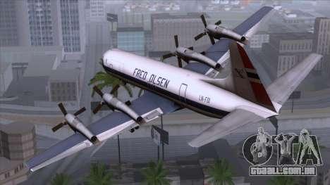 L-188 Electra Fled Olsen para GTA San Andreas esquerda vista
