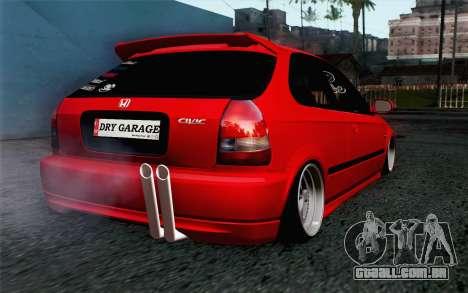 Honda Civic DRY Garage para GTA San Andreas esquerda vista