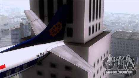 L-188 Electra Mandala Airlines para GTA San Andreas traseira esquerda vista