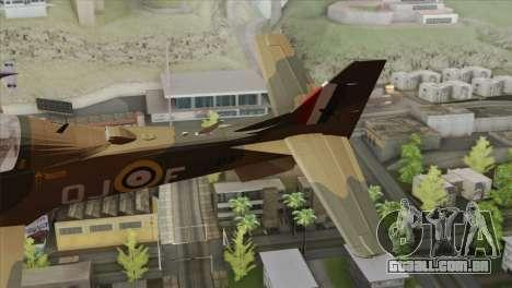 Embraer A-29B Super Tucano RAF para GTA San Andreas traseira esquerda vista