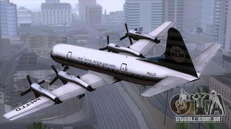L-188 Electra KLM v2 para GTA San Andreas esquerda vista