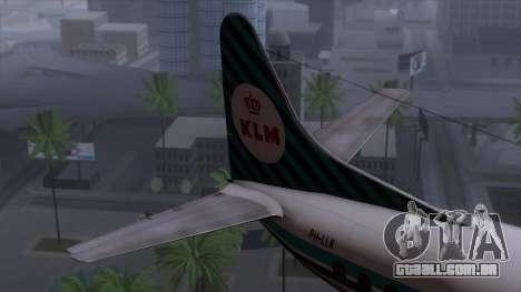 L-188 Electra KLM v1 para GTA San Andreas traseira esquerda vista