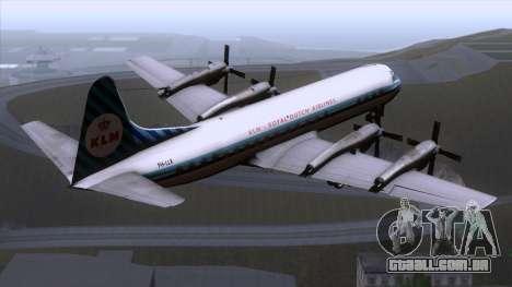L-188 Electra KLM v1 para GTA San Andreas esquerda vista