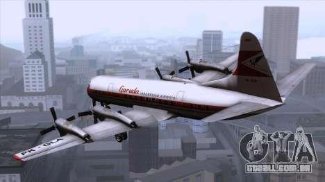 L-188 Electra Garuda Indonesia para GTA San Andreas esquerda vista