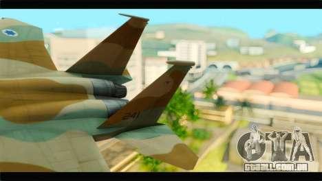 Boeing F-15C IAF para GTA San Andreas traseira esquerda vista