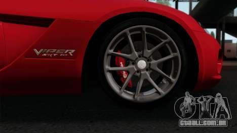Dodge Viper SRT10 v1 para GTA San Andreas traseira esquerda vista