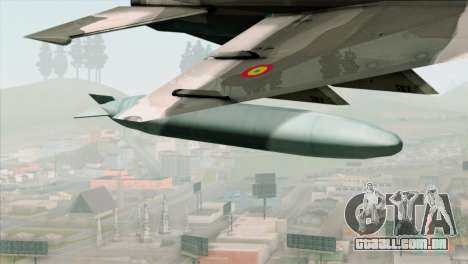 Hawker Hunter F6A para GTA San Andreas vista direita