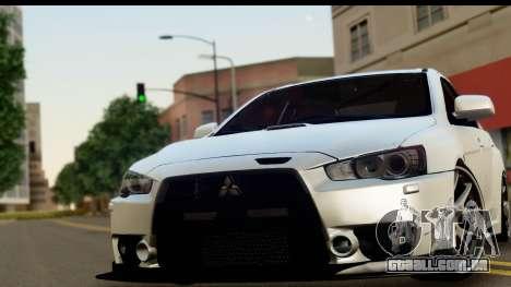 Mitsubishi Lancer Evo X para GTA San Andreas traseira esquerda vista
