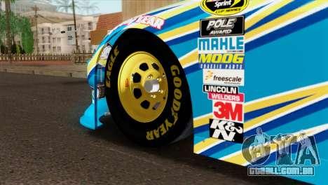NASCAR Dodge Charger 2012 Plate Track para GTA San Andreas traseira esquerda vista