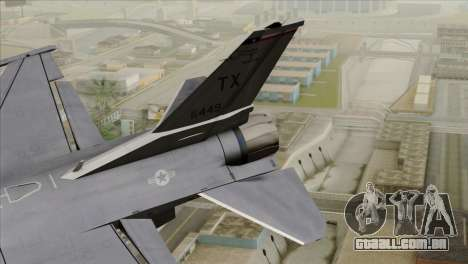 F-16D Fighting Falcon para GTA San Andreas traseira esquerda vista