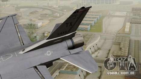 F-16D Fighting Falcon para GTA San Andreas traseira esquerda vista