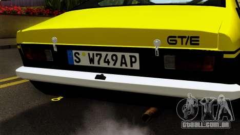 Opel Kadett E GTE 1900 Italian Rally para GTA San Andreas vista traseira