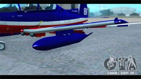 Beechcraft T-6 Texan II Red para GTA San Andreas vista direita