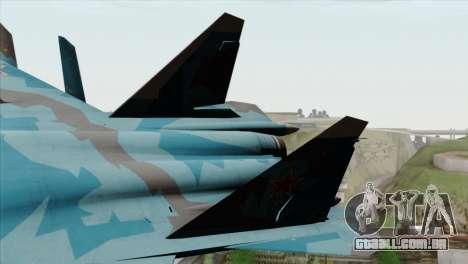 SU-47 Berkut Winter Camo para GTA San Andreas traseira esquerda vista