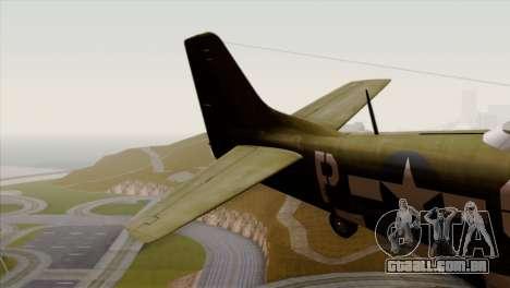 P-51D Mustang Da Quake para GTA San Andreas traseira esquerda vista