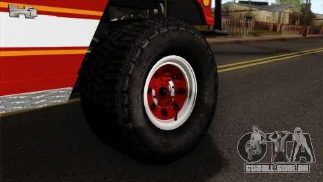 Hummer H1 Fire para GTA San Andreas traseira esquerda vista