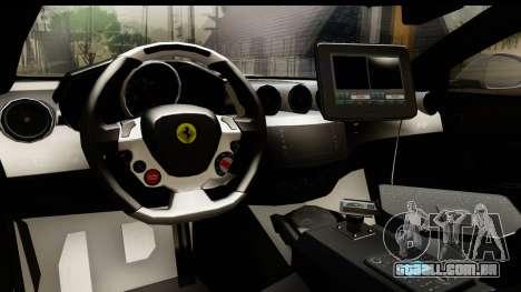 NFS Rivals Ferrari FF Cop para GTA San Andreas vista interior