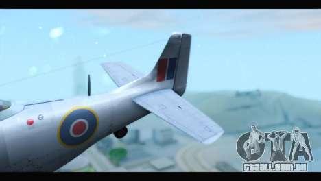 P-51 Mustang Mk4 para GTA San Andreas traseira esquerda vista