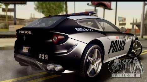 NFS Rivals Ferrari FF Cop para GTA San Andreas esquerda vista