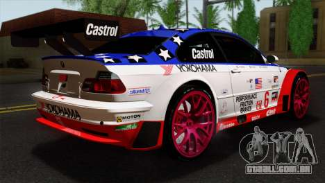 BMW M3 GTR 2001 Prototype Technology Group para GTA San Andreas esquerda vista