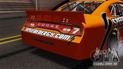NASCAR Dodge Charger 2012 Short Track para GTA San Andreas vista traseira