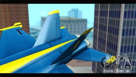 McDonnell Douglas FA-18 Blue Angel para GTA San Andreas traseira esquerda vista