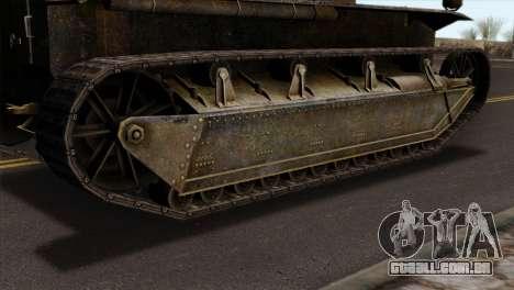 T2 Medium Tank para GTA San Andreas traseira esquerda vista