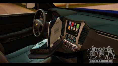 Chevrolet Suburban 2015 BCSD Sheriff para GTA San Andreas vista direita