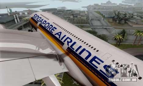 Airbus A380-800 Singapore Airline para GTA San Andreas vista traseira