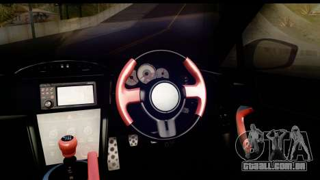 Toyota GT86 Itasha para GTA San Andreas vista interior