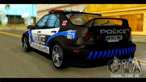 Toyota Altezza Police para GTA San Andreas esquerda vista