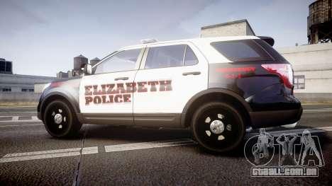 Ford Explorer 2011 Elizabeth Police [ELS] para GTA 4 esquerda vista