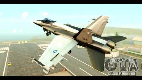 McDonnell Douglas FA-18 HARV v2 para GTA San Andreas esquerda vista