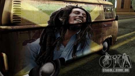 Volkswagen T2 Bob Marley para GTA San Andreas vista traseira
