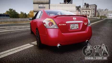 Nissan Altima 3.5 SE para GTA 4 traseira esquerda vista