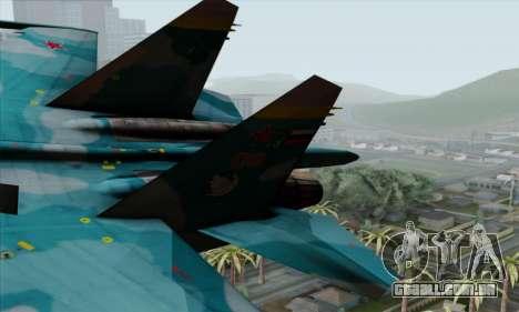 SU-27 Flanker A Warwolf Squadron para GTA San Andreas traseira esquerda vista