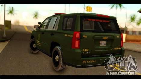 Chevrolet Suburban 2015 SANG para GTA San Andreas esquerda vista