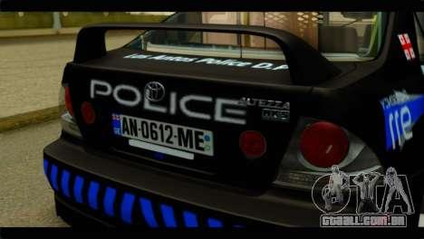 Toyota Altezza Police para GTA San Andreas vista traseira