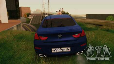BMW 6 Series Gran Coupe 2014 para GTA San Andreas traseira esquerda vista