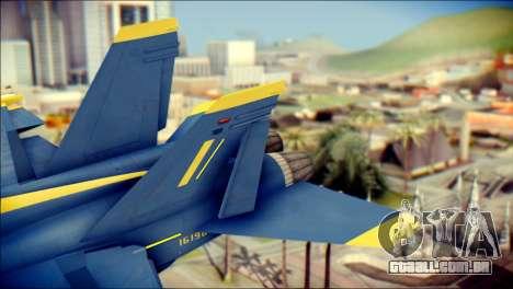 FA-18D Hornet NASA para GTA San Andreas traseira esquerda vista