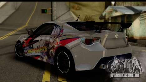 Toyota GT86 Itasha para GTA San Andreas esquerda vista