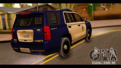 Chevrolet Suburban 2015 BCSD Sheriff para GTA San Andreas esquerda vista