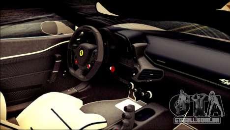 Ferrari 458 Speciale 2015 Stripe para GTA San Andreas vista direita