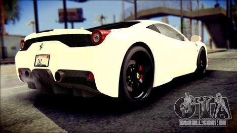 Ferrari 458 Speciale 2015 para GTA San Andreas esquerda vista