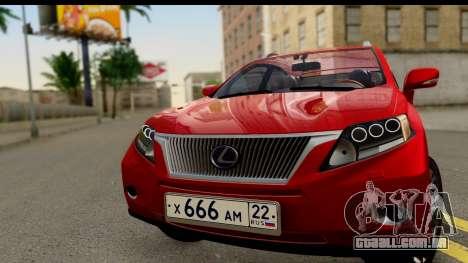 Lexus RX450h para GTA San Andreas traseira esquerda vista